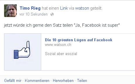 Doch Facebook interessiert sich nicht für Dialoge, sondern teilt nur Links.